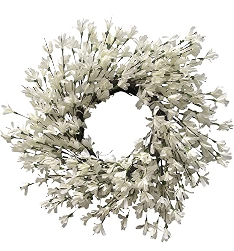 Huashen Spring Front Door Wreath, White Cream Forsythia Blossom Cluster Flower Farmhouse Wreath on Grapevine for Wall Window 24inch