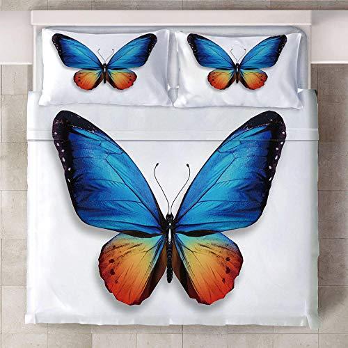 RGBVVM Funda de Edredón 220 x 240 cm Mariposa Azul Impresión 3D Microfibra Funda de Nórdica 140x200 cm y 2 Almohada 50x75 cm