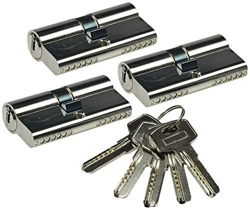 ChiliTec Schließzylinder 60mm 30+30mm für DIN Einsteck-Schlösser I 3 gleichschliessende Zylinder 5 Sicherheitschlüssel