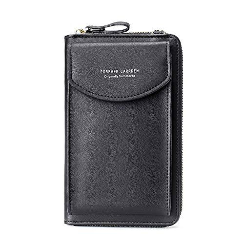 """BestTas Damen Handy-Umhängetasche PU Leder RFID Blockierung Handytasche Geldbörse mit Kartenfächer Verstellbar Abnehmbar Schultergurt Passt Handy unter 6,10"""" (2020 neue schwarz)"""