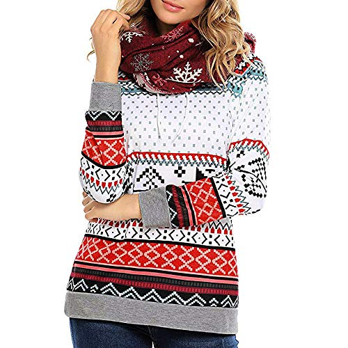 FRAUIT FRAUIT Damen Weihnachten Kapuzen Pullover Hoodies Sweatshirt Xmas Ladies Tops Pullover Sport Hoodies Damen Mode Einfarbig Kleidung Hoodies Mantel Hoody Lang Tunika Bluse Tops (XL, rot1)