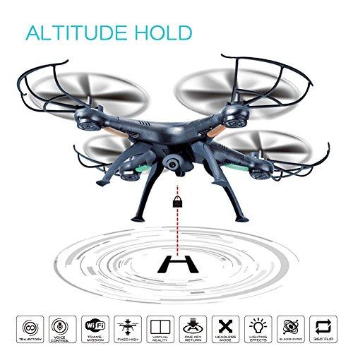 Drone Portatile RC con Sistema FPV WiFi Videocamera HD + Batteria Aggiuntiva – Flessibile, Tascabile, Quadrirotore con Mantenimento dell'altitudine, modalità di Volo a Lancio, Fly 3D, Flips, Hover, 4