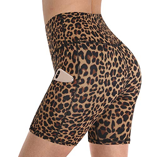 "Promover Women's Yoga Biker Shorts Side Pockets High Waist Workout Running Shorts with Tummy Control 5"" Inseam (Brown Leopard, S)"