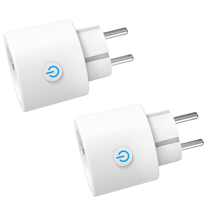 ANTELA Enchufe Inteligente WiFi Mini Con Monitor de Energía, No Necesita HUB, Compatible con Alexa y Google Home, 2 Pack