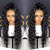 GIANNAY Hair Curly Wigs for Black Women Lace Front Wigs with Baby Hair Long Loose Wave Synthetic Wig Heat Resistant Fiber 180% High Density Natural Looking Hair Replacement Wigs 22'