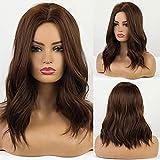 HAIRCUBE Pelucas de onda natural Peluca marrón oscuro para mujeres con pelucas de parte media Peluca sintética hasta los hombros para fiesta Cosplay Peluca de mujer