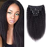 Alishow Clip In Hair Extensions for Black Women, 8A Kinky Straight Hair Clip Ins Full and Thick Clip In Hair Extensions Yaki Kinky Straight Clip Ins Extensions Human Hair 10Pcs/Lot,120Gram/Set (14Inch,Natural Black)