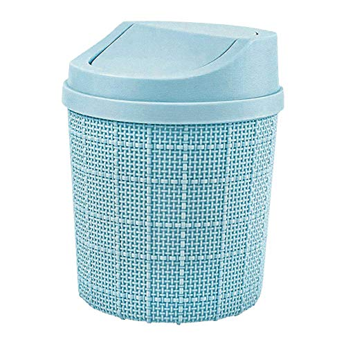 Small plastic trash can with lid, 1.5L mini trash can, anti-drop plastic, used in office, desk, car, bedroom, bathroom sink, cosmetics, kitchen