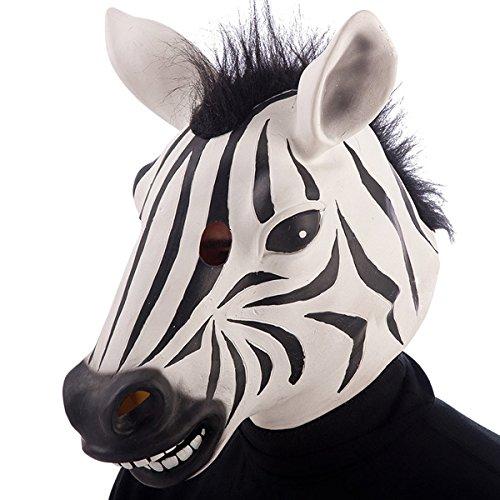 Masque de zebre Adulte Taille Unique - Deguisement Halloween Latex - 001