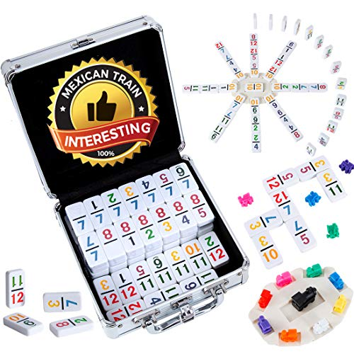 Tocebe Mexican Train Dominoes, Double 12 Color Mexican Train Dominoes with Numbers, 91 Tiles Chicken Foot Dominoes Game Set with Aluminum Case