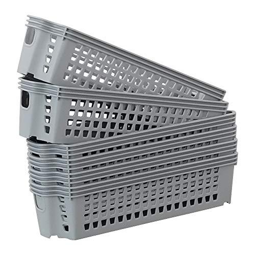 Ponpong 6 Einheiten klein Plastikkorb Plastik Korb Aufbewahrungskörbe aus Kunststoff Körbchen, Grau
