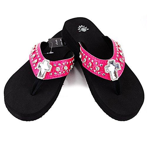 Women Western Rhinestone Bling Cross Flip Flops Sandals (S(6), PINK)