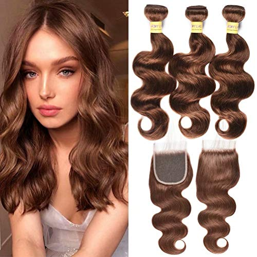 MY LIKE Brazilian Wave Hair Bundles with Closure,Virgin Body Wave Weaves with 4x4 Swiss Lace Closure,Back to School New Look, Light Brown Color 4 (10 12 14+10Closure)