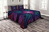Ambesonne Fractal Bedspread, Psychedelic Colorful Symmetrical Stained Glass Vibrant Design, Decorative Quilted 3 Piece Coverlet Set with 2 Pillow Shams, King Size, Indigo Plum