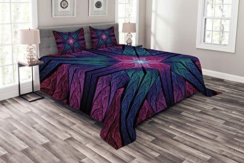 ABAKUHAUS Fractal Tagesdecke Set, Psychedelische Kunst Vivid, Set mit Kissenbezügen farbfester Digitaldruck, für Doppelbetten 220 x 220 cm, Plum Indigo