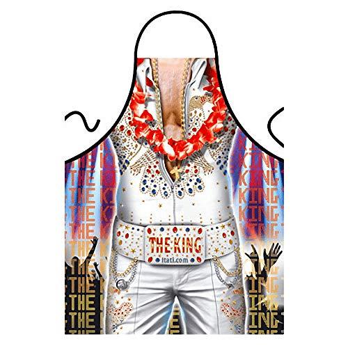 ITATI Delantal Sexy Parrilla Barbacoa Delantal de Cocina Antimanchas para Hombre, Modelo Elvis Presley, Medidas 75 x 58 cm