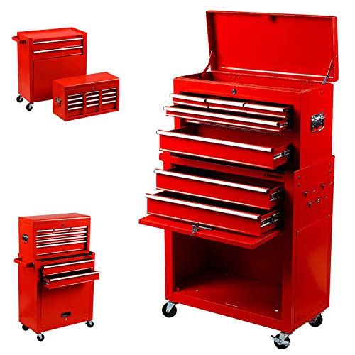2 in 1 Portable Drawer Tool Box Locking Top Chest Cabinet Sliding Combined Storage Drawers Rolling Toolbox Organizer, Red