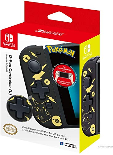 Hori Nintendo Switch D-Pad Controller (L) (Pokemon: Black & Gold Pikachu) By - Officially Licensed By Nintendo and the Pokemon Company International - Nintendo Switch