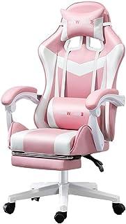 Silla de oficina Inicio Gaming Chair Silla Reclinable Silla Rosada Girl Presidente De Estudio del Estudiante Almohada De Látex (Color : Pink, Size : 70 * 70 * 133cm)