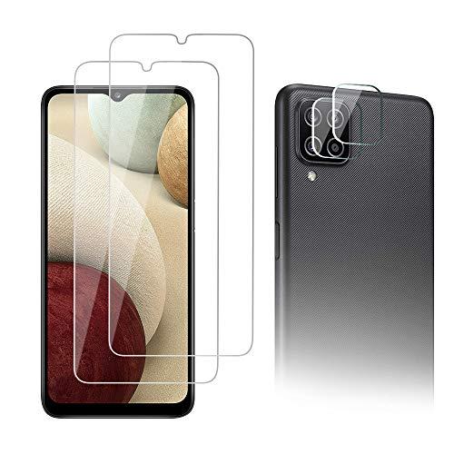 AiMok Cristal Templado Protector de Pantalla Compatible con Samsung Galaxy A12, 2 Piezas Cristal Templado Protector + 2 Piezas Cristal Templado Protector Cámara 【9H Dureza】【Anti Arañazos】