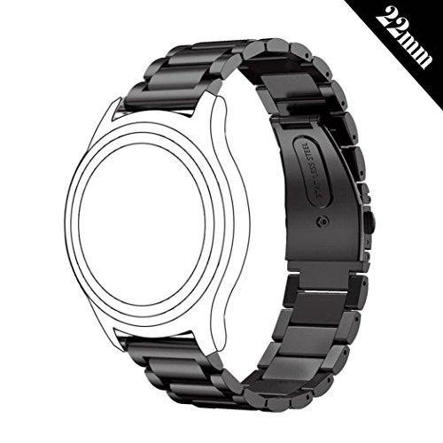 shellong 22mm Damen Herren Edelstahl massiv Uhr Band Ersatz Armband für Samsung Gear S3Classic und Frontier, Huawei Watch 2Classic, LG Uhr, Urbane und R Smartwatch, Metallschwarz, 22 mm