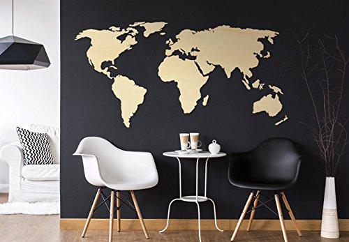 K&L Pappel Holzdeko 3D Holz Weltkarte Kontinente Länder Wand Deko Holzweltkarte 100 x 50 cm
