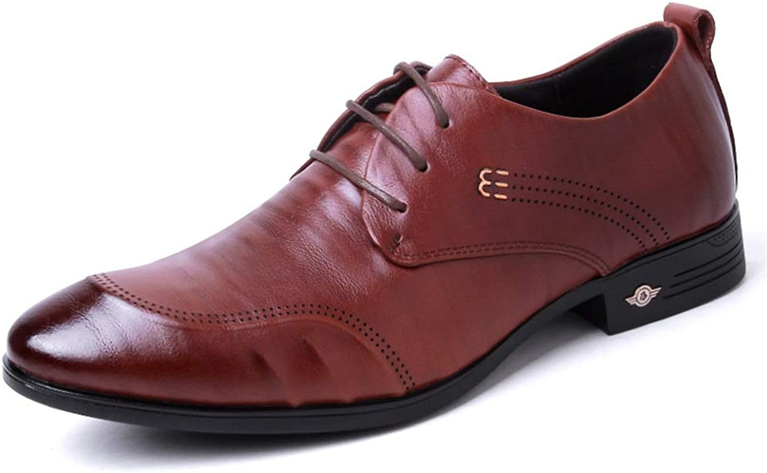 Hy-w Men's shoes, Fall Winter Business Dress shoes, Soft Sole Man Leather shoes, Anti-Slip Casual Lace-Up shoes (color   A, Size   41)