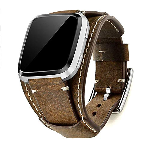 Leotop Compatibel met Fitbit Versa / Versa 2 / Versa Lite / Versa Special Edition-bandjes, lederen horlogeband Manchetvervangende armbanden met roestvrijstalen gesp voor dames en heren (Koffie)