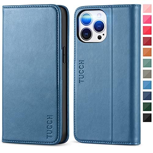 TUCCH Hülle für iPhone 13 Pro Max, Schutzhülle [ TPU] [Ständer] [Magnet],Handyhülle mit Kartenfach, Lederhülle, Stoßfest Flipcase, Brieftasche kompatibel mit iPhone 13 Pro Max (6,7 Zoll) Blau