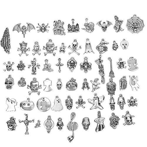 RILLATEK Joyas Que fabrican encamejas de Plata, 60 unids Charms Plateados Mezclados Colgantes para Collar Pulsera Pendientes Joyería Pendiente (Color : -, Talla : -)