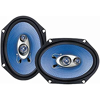 """6"""" x 8"""" Car Sound Speaker (Pair) - Upgraded Blue Poly Injection Cone 3-Way 360 Watts w/ Non-fatiguing Butyl Rubber Surround 70 - 20Khz Frequency Response 4 Ohm & 1"""" ASV Voice Coil - Pyle PL683BL"""