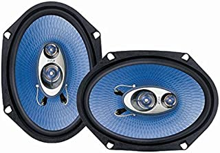 """6"""" x 8"""" Car Sound Speaker (Pair) - Upgraded Blue Poly Injection Cone 3-Way 360 Watts w/ Non-fatiguing Butyl Rubber Surroun..."""