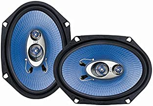 "6"" x 8"" Car Sound Speaker (Pair) - Upgraded Blue Poly Injection Cone 3-Way 360 Watts w/ Non-fatiguing Butyl Rubber Surround 70 - 20Khz Frequency Response 4 Ohm & 1"