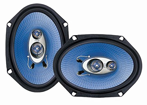 "6"" x 8"" Car Sound Speaker (Pair) - Upgraded Blue Poly Injection Cone 3-Way 360 Watts w/ Non-fatiguing Butyl Rubber Surround 70 - 20Khz Frequency Response 4 Ohm & 1 ASV Voice Coil - Pyle PL683BL"