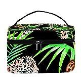TIZORAX Leopard with Butterfly Cosmetic Bag Travel Toiletry Case Caja de Organizador de Maquillaje Grande