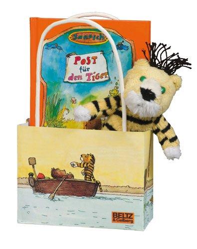 Janosch-Freundschaftstüte Tiger. Bilderbuch »Post für den Tiger« mit Plüsch-Tiger (12 cm) und Geschenktasche