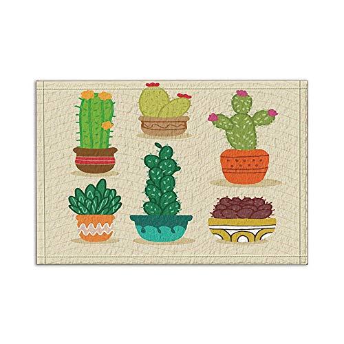 ottbrn cartoon potplanten, cactus, badkamertapijten, antislip, vloeringangen, outdoor, binnendeur, voordeur, mat, 15,7 x 23,6 cm, badmat badkamertapijten