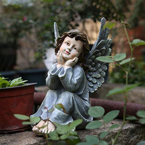 YJTCQC Résine Ange Statue, intérieur extérieur Jardin chérubins Vintage Creative Art Ornements Art et Artisanat Sculpture pour Patio Jardin décorations-b 17 * 20 * 28 cm