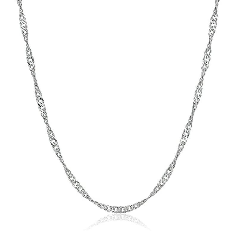 2pcs Top Quality 24 inch Sterling Silver Singapore Necklace Chain w/Clasp for Jewelry Making (1.4mm width, Strong) SS155