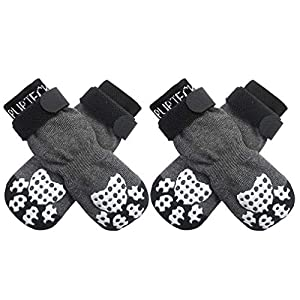 PUPTECK Double Side Anti-Slip Dog Socks with Adjustable Straps for Indoor Wear – 2 Pairs Pet Paw Protection Traction Control Socks on Hardwood Floor