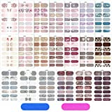 20 Sheets Full Wrap Nail Polish Stickers Self-Adhesive Nail Art Decals DIY Nail Art Stickers with Nail Files, Strips Manicure Kits Nail Art Decoration for Women Girls (Dark Style)