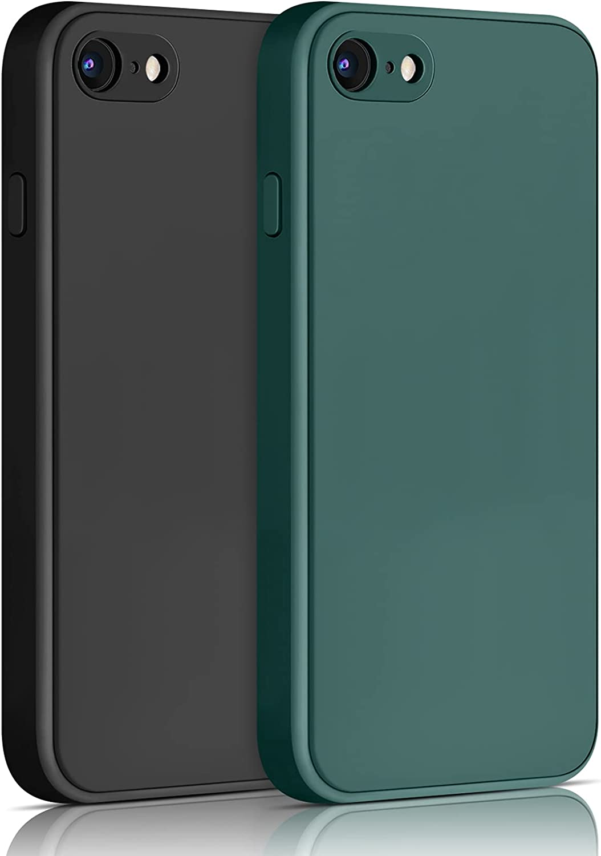 Yisica[2 Pack]Funda de Silicona Compatible con iPhone SE 2020 / iPhone 8 / iPhone 7, Funda de Silicona con [Forro de Microfibra Suave] Protección Completa, 4.7