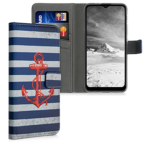 kwmobile Wallet Hülle kompatibel mit Motorola Moto G30 / Moto G20 / Moto G10 - Hülle mit Ständer Kartenfächer Anker Streifen Vintage Rot Dunkelblau Weiß