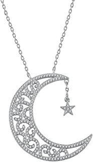 AoedeJ Clear Crescent Moon Star Pendant Necklace Sterling Silver Cubic Zirconia Women Chain Necklace