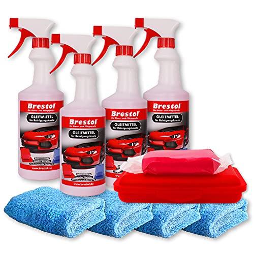 Brestol Reinigungsknete Set6 200 g Knete rot abrasiv + Box + 4X 750 ml Spezial GLEITMITTEL + 4X Poliertuch - Polierknete Lackknete Clay-Bar Auto-Lack-Knete - entfernt Baumharz Insekten u.v.m.
