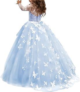 69bb372fbd860 OBEEII Filles Robes de Cérémonie en Dentelle Florale à Manches Longues  Élégante Robe Princesse de Soirée