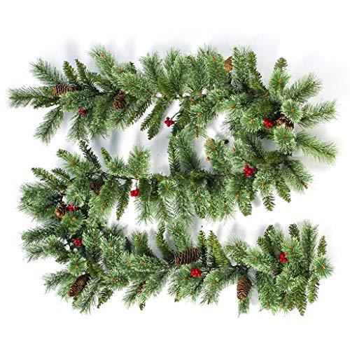 YFairy Weihnachts-Ornament, Rattan-Girlande, Tannenzapfen, Hängekamin mit Gehstock für Zuhause und Garten