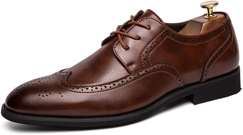 EGS-schuhe Brogue Schuhe für Mnner Wingtip Oxfords Lssige Schnürschuhe PU-Leder Obere Spitze Zehen Leichte, dauerhafte Abriebfestigkeit,Grille Schuhe (Farbe   Braun, Gre   48 EU)