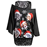 Damen Pullover Mode Frauen Twinset Spitze Plus Elegante Weihnachten Katze Schneeflocke Druck Tops T Shirts Tunika Blusen Pullover Sweat Shirts (Color : Schwarz, Size : 4XL)
