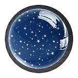 TIZORAX Pomos de cajón con diseño de estrellas navideñas, color azul marino, redondos, 4 paquetes para armarios de armario, aparador, puerta, decoración del hogar